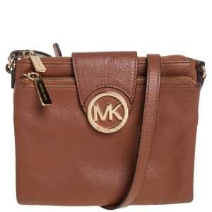 Michael Kors Brown Leather Large Fulton Crossbody Bag