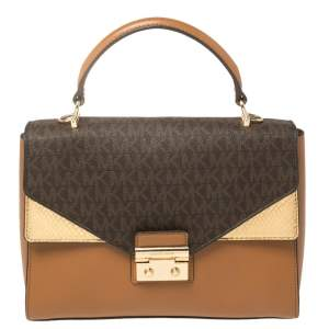 Michael Kors Tricolor Monogram Coated Canvas and Leather Kinsley Top Handle Bag