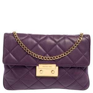 Michael Kors Purple Quilted Leather Sloan Chain Bag