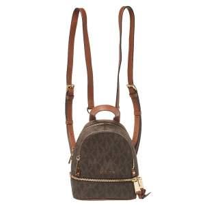 Michael Kors Brown Signature Coated Canvas and Leather Mini Rhea Backpack