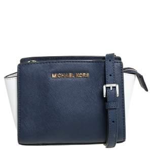 Michael Kors Navy Blue/White Leather Mini Selma Crossbody Bag