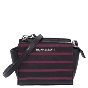 Michael Kors Black/Pink Saffiano Leather Mini Selma Crossbody Bag