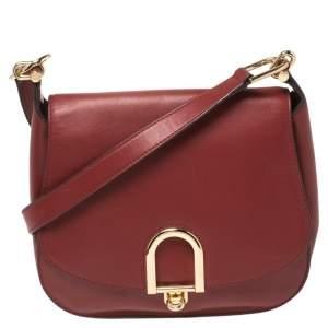 Michael Kors Red Leather Large Delfina Saddle Bag