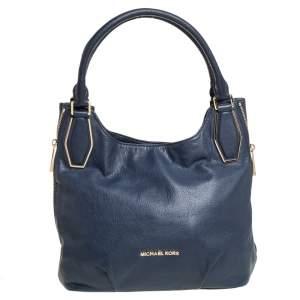 Michael Kors Dark Blue Leather Vanessa Medium Shoulder Bag