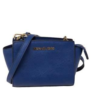 Michael Kors Blue Saffiano Leather Mini Selma Crossbody Bag