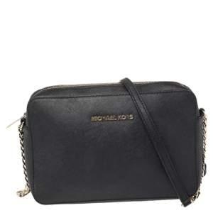 Michael Kors Black Saffiano Leather Jet Set Camera Crossbody Bag