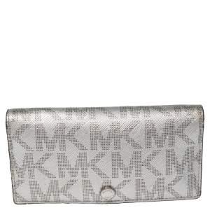 Michael Kors Metallic Silver Signature Coated Canvas Bifold Wallet