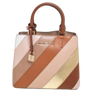 Michael Kors Multicolor Striped Leather and Python Embossed Adele Tote