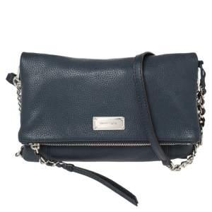 Michael Michael Kors Blue Leather Foldover Crossbody Bag