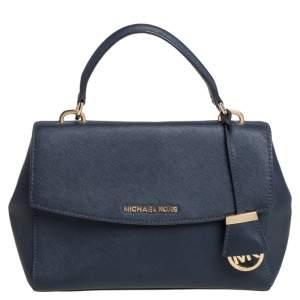 Michael Kors Navy Blue Leather Small Ava Top Handle Bag