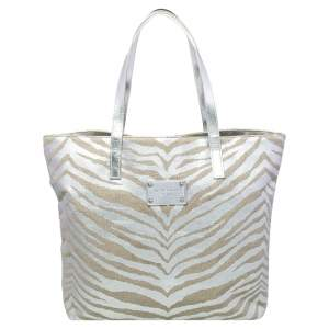 Michael Kors Silver/Beige Canvas And Patent Leather Tote