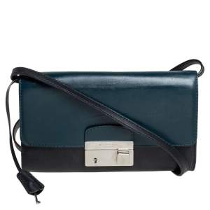 Michael Kors Teal Green/Black Leather Gia Clutch on Strap