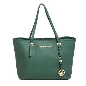 Michael Kors Green Saffiano Leather Small Jet Set Travel Tote