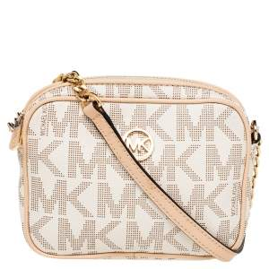 Michael Kors Beige/Brown Signature Coated Canvas And Leather Mini Camera Crossbody Bag
