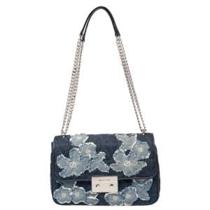 Michael Kors Blue Floral Denim Sloan Shoulder Bag