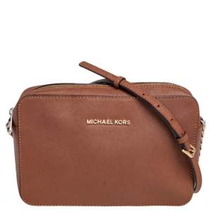 Michael Kors Brown Saffiano Leather Jet Set Camera Crossbody Bag
