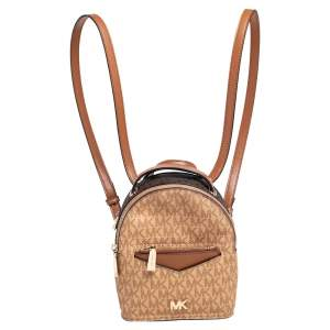 Michael Kors Brown/Tan Signature Coated Canvas and Leather Jessa Small Convertible Backpack