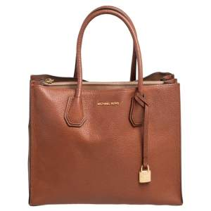 Michael Kors Brown Grained Leather Large Mercer Tote