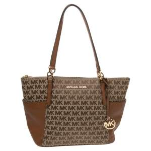 Michael Kors Brown/Beige Canvas and Leather Charlotte Top Zip Tote
