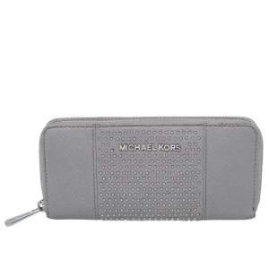Michael Kors Grey Saffiano Leather Micro Stud Travel Zip Around Wallet