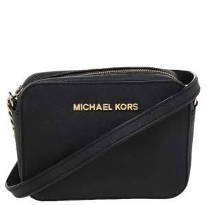 Michael Kors Black Leather Mini Jet Set Crossbody Bag