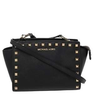 Michael Kors Black Studded Saffiano Leather Selma Crossbody Bag