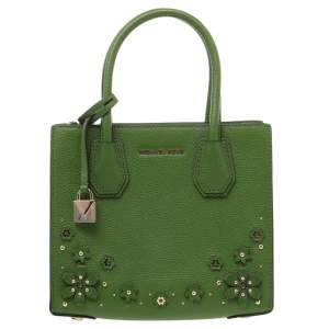 Michael Kors Green Floral Embellished Leather Small Mercer Tote