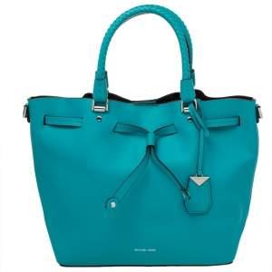 Michael Kors Blue Leather Drawstring Shoulder Bag