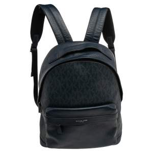 Michael Kors Navy Blue Leather And Signature Coated Canvas Russel Backpack