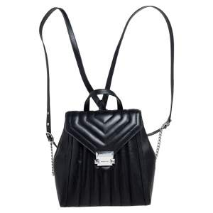 Michael Kors Black Quilted Leather Whitney Backpack