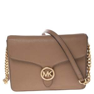 Michael Kors Beige Leather Vanna Flap Shoulder Bag