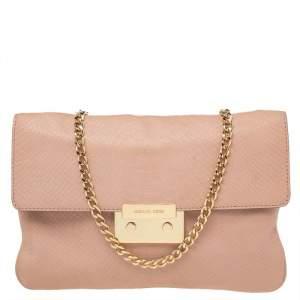 Michael Kors Pink Python Embossed Leather Pushlock Slim Flap Shoulder Bag