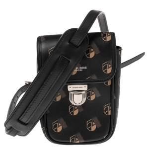 Michael Kors Black Printed Leather Kennedy Studio 54 Phone Crossbody Bag