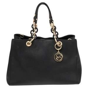 MICHAEL Michael Kors Black Leather Medium Cynthia Tote
