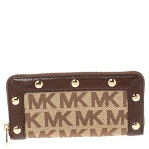 Michael Kors Beige/Brown Signature Canvas and Leather Studded Zip Around Wallet