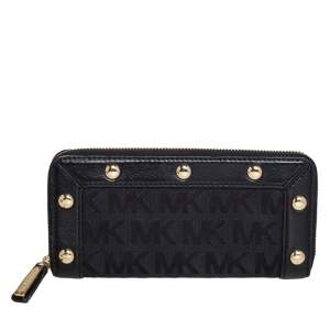 Michael Kors Black Signature Canvas and Leather Studded Zip Around Wallet