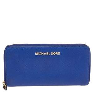 Michael Kors Blue Leather Bedford Continental Wallet