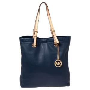 Michael Michael Kors Navy Blue Leather Jet Set North South Tote