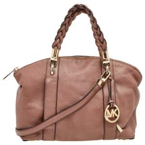 Michael Kors Brown Leather Naomi Braided Handle Satchel