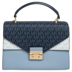 Michael Kors Blue/White Signature Coated Canvas and Leather Kinsley Top Handle Bag