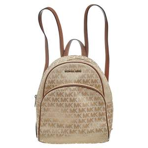 Micheal Kors Beige Monogram Canvas And Leather Backpack