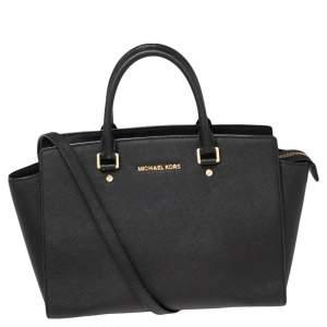 MICHAEL Michael Kors Black Leather Large Selma Satchel