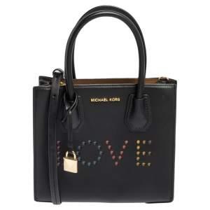 Michael Kors Black Leather Mini Mercer Love Tote