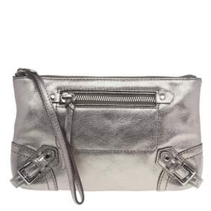 Michael Kors Metallic Silver Leather Fallon Wristlet Clutch