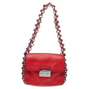 Michael Kors Red Leather Piper Flap Shoulder Bag