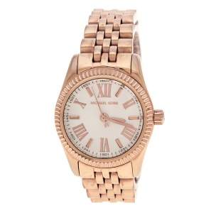 Michael Kors silver White Gold Plated Steel Petite Lexington Rose MK3230 Women's Wristwatch 26 mm