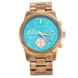 Michael Kors Blue Rose Gold Plated Stainless Steel Runway MK6164 Women's Wristwatch 38 mm
