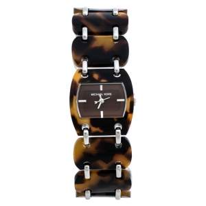 Michael Kors Brown Tortoise Acetate Stainless Steel MK4178 Women's Wristwatch 26 mm