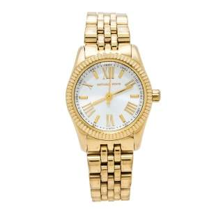 Michael Kors Opaline White Gold Tone Stainless Steel Lexington Petite MK3229 Women's Wristwatch 26 mm