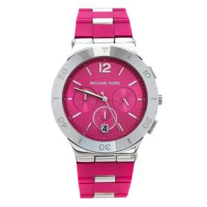 Michael Kors Pink Stainless Steel Wyatt MK6170 Women's Wristwatch 40 mm